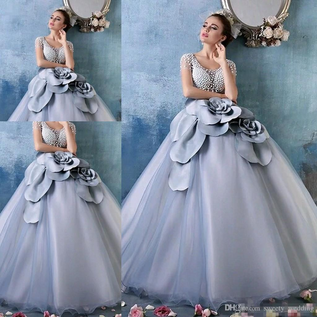 2017 Cinderella Dusty Blue Debutante Ball Gown Luxury Pearls 3d ...