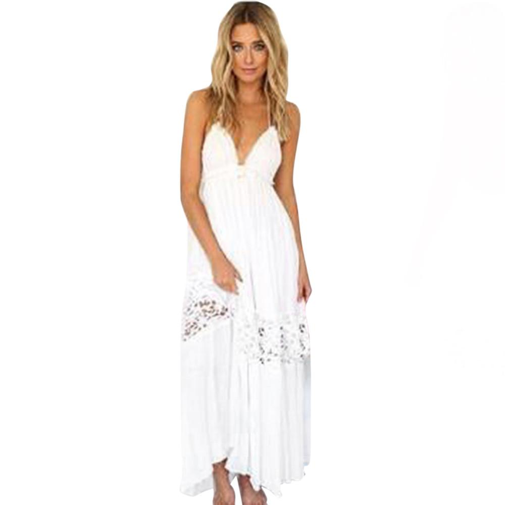 e3c5c5848 Boho White Maxi Dress Women Sexy Sleeveless Sling Beach Long Sundress  Elegant Ladies V-neck Summer Casual Party Dresses #LH High Quality White  Maxi D China ...