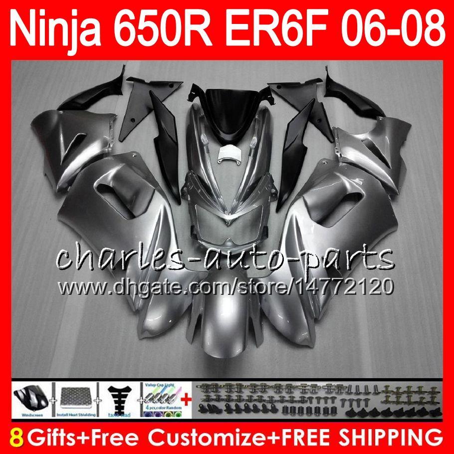 8Gifts Body Pour KAWASAKI NINJA 650R ER6F 06 07 08 Ninja650R 20HM8 brillant Argent ER 6F 06-08 ER6 F ER-6F 2006 2007 2008 Kit de carénage