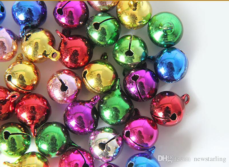 100 unids cascabeles de tamaño pequeño diy accesorios de la joyería diy perlas colgantes 6 mm 8 mm 10 mm árbol de navidad adornos decoraciones de navidad