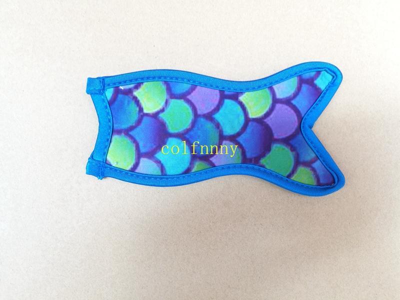 / شحن مجاني تصميم السمك على غرار حاملي النيوبرين حورية البحر الجليد الأكمام فريزر حاملي 8.5x16cm