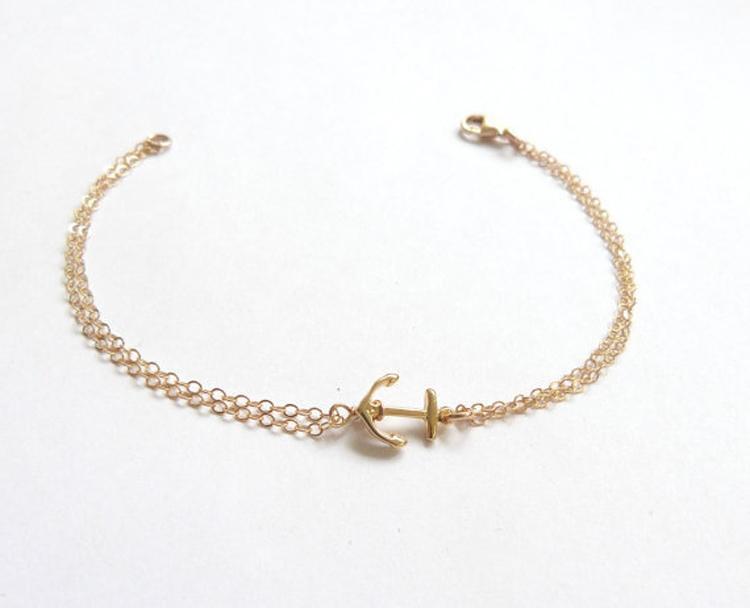Neue stilvolle einfache Modeschmuck Armbänder Vintage Retro Anker Armband für Frauen zwei Farbe Gold und Silber SH032