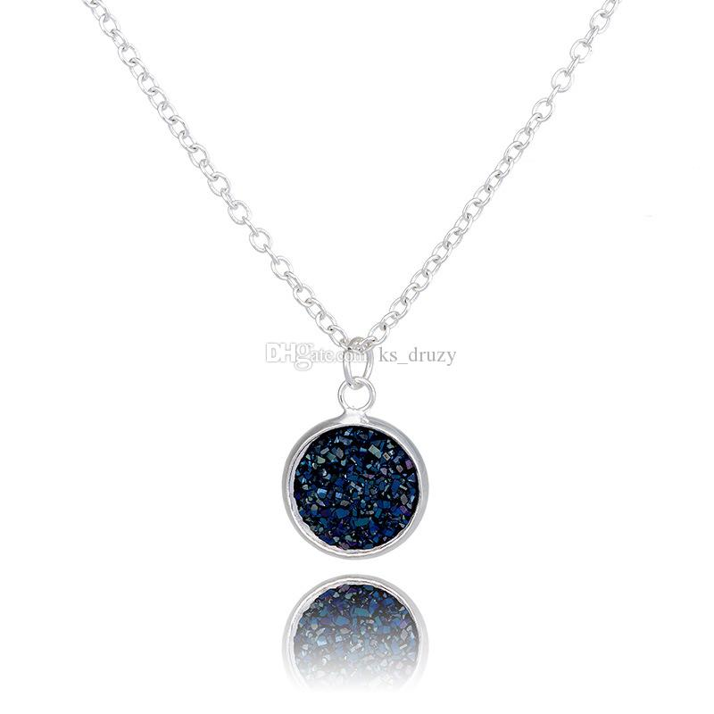 Druzy Drusy Necklace Stainless Steel Chain Geometry Resin Lava Stone Necklaces New York Brand Jewelry