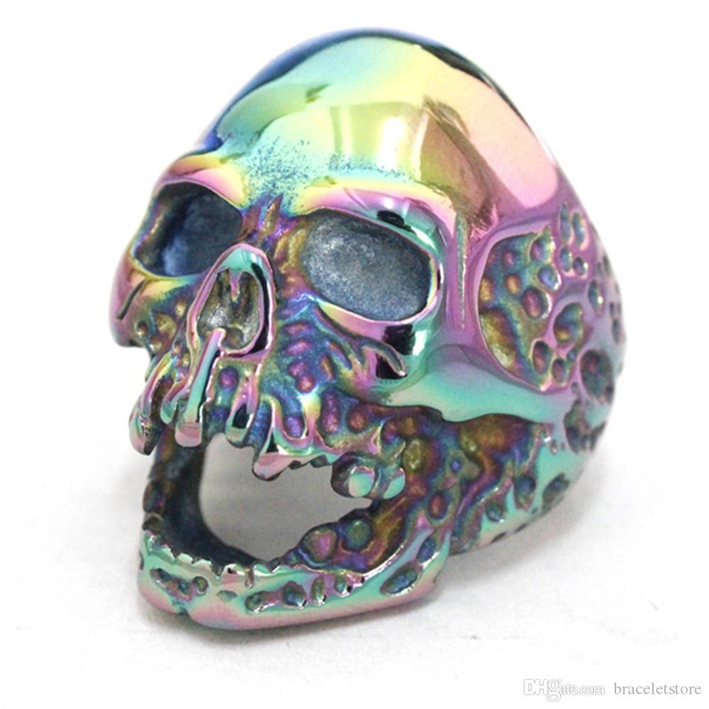 Suporte Dropship Design Pessoal Rainbow Color Evil Crânio Anel de Aço Inoxidável 316L Man Boy Estilo Motociclista Legal Anel de Caveira