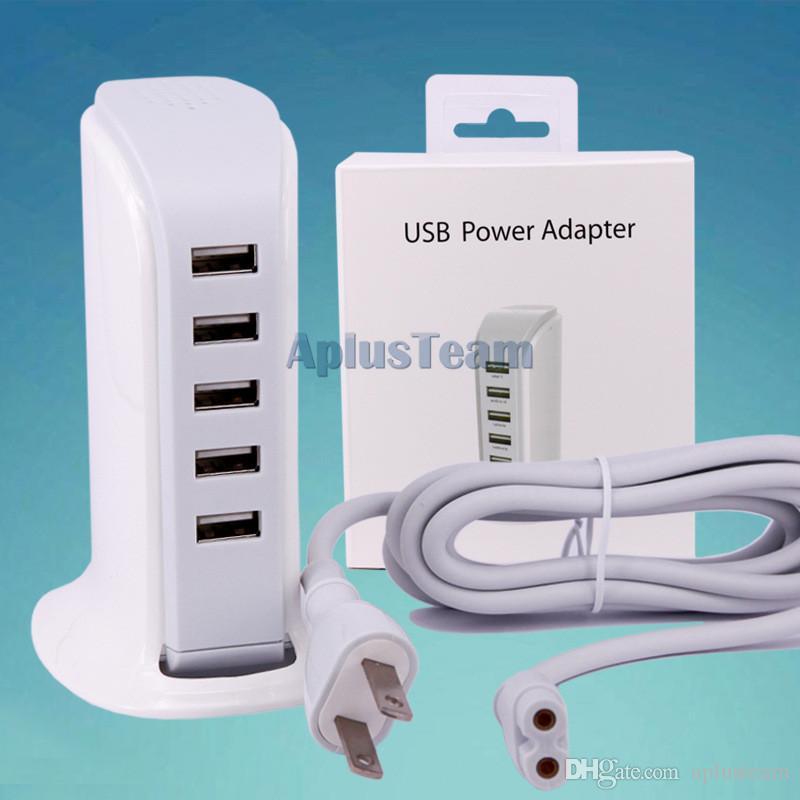 En Kaliteli 5 V 6A 30 W Duvar şarj Dock 5 USB Portları ABD, AB Tak Güç AC Seyahat Ev Adaptörü Evrensel iPhone iPad Samsung S6 S7 Cep