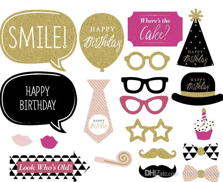 20 ADET DIY Flaş Altın Photobooth Kağıt Meslekler Bıyık Dudak Eğlenceli Mutlu Doğum Günü Fotoğraf Standında Sahne Doğum Günü Partisi