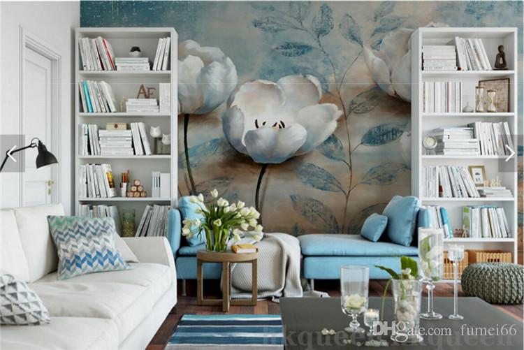 European Vintage Floral Wall Paper Mural Embossed Blue Flower Photo Wallpapers for Living Room Wall Art papel de parede madeira