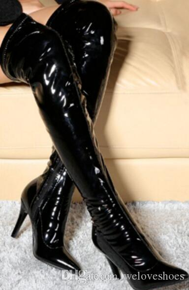 2018 섹시한 무릎 높은 부츠 여성 얇은 뒤꿈치 허벅 다리 높은 다리가있는 부츠 지적 발가락 부츠 숙녀의 특허 가죽 긴 부츠 파티 신발