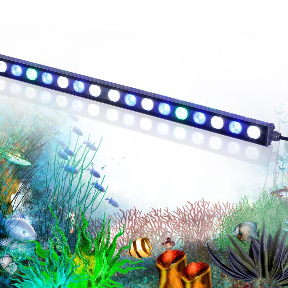 Heißer Verkauf 54W führte Streifen wasserdichtes IP65-Aquarium Lichtleiste für Süßwasser / Salzwasser-Riffkorallen-Aquarium, das US-Lager beleuchtet
