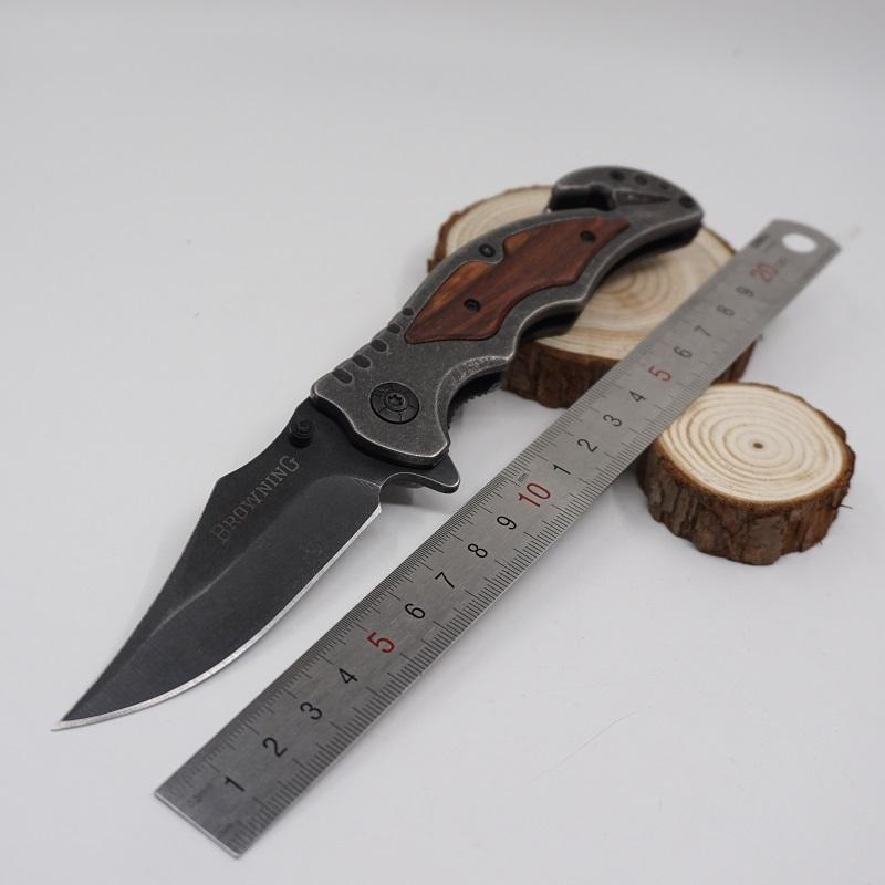 Browning 233 Stone Washed Tactical Knives Folding Pocket Knife Wood Handle High-quality Outdoor Camping Hunting Knife EDC Tool Best Gife
