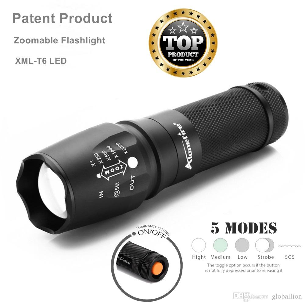 AloneFire E26 XML T6 Led Tactical Zoomable Flashlight Led Rechargeable 18650 Waterproof Torch Led flashlight