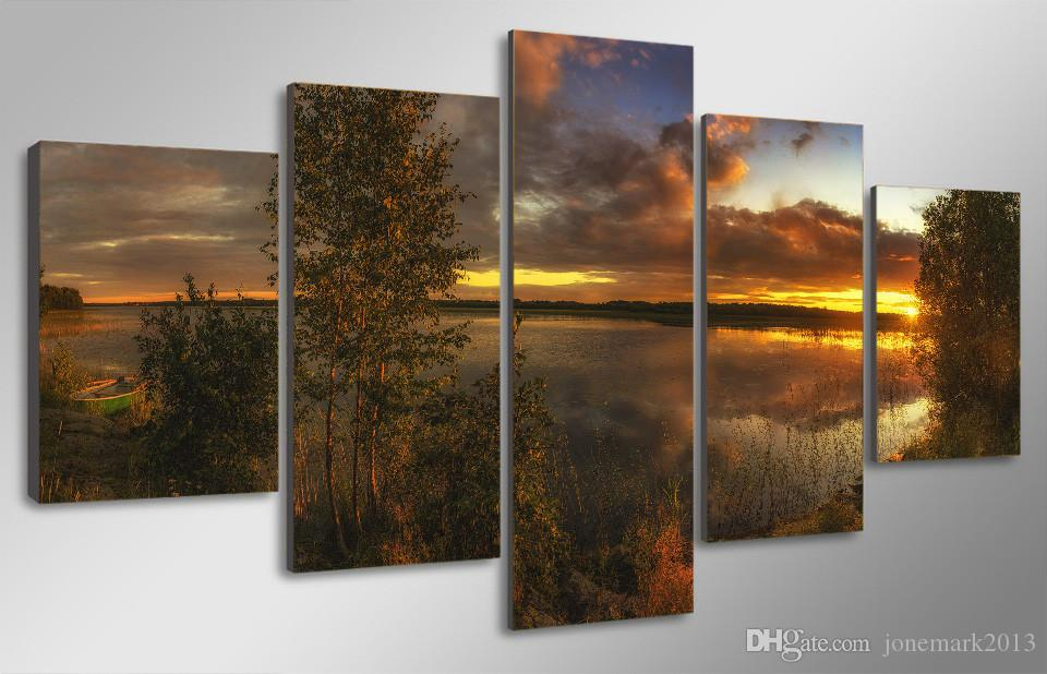 Framed HD Printed Sunset Lake Landscape Picture Wall Art Canvas Print Decor Poster Canvas Oil Painting