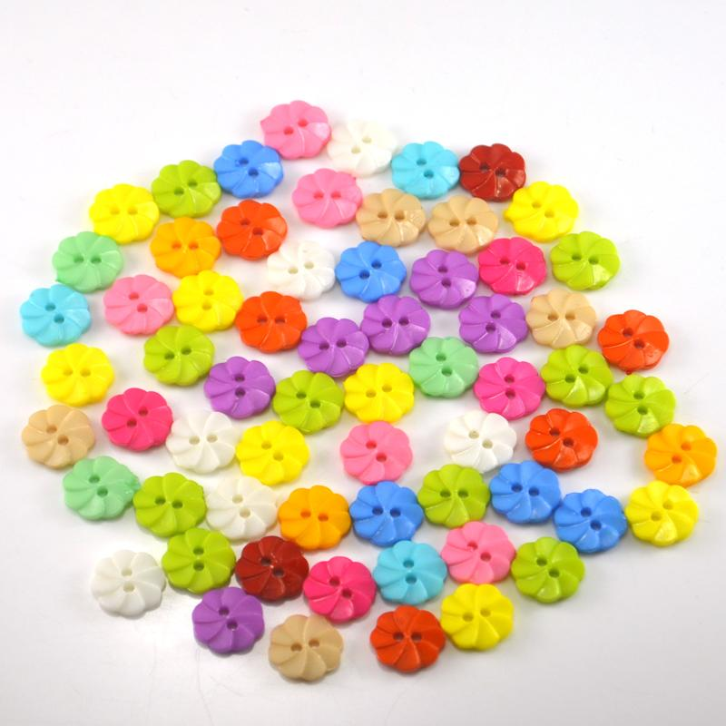 500Pcs Candy Color Flower Resin Sewing Buttons 2 Holes for DIY Craft Supplies