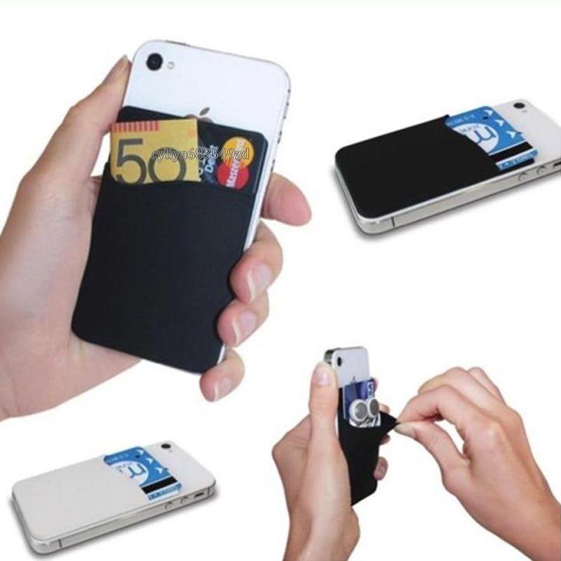 Silikon Cüzdan Kredi Kartı Nakit Cep Sticker 3M Yapışkan Çubuk-on Kimlik Kredi Kartı Tutucu Kılıfı Gadget iPhone Samsung Cep Telefonu