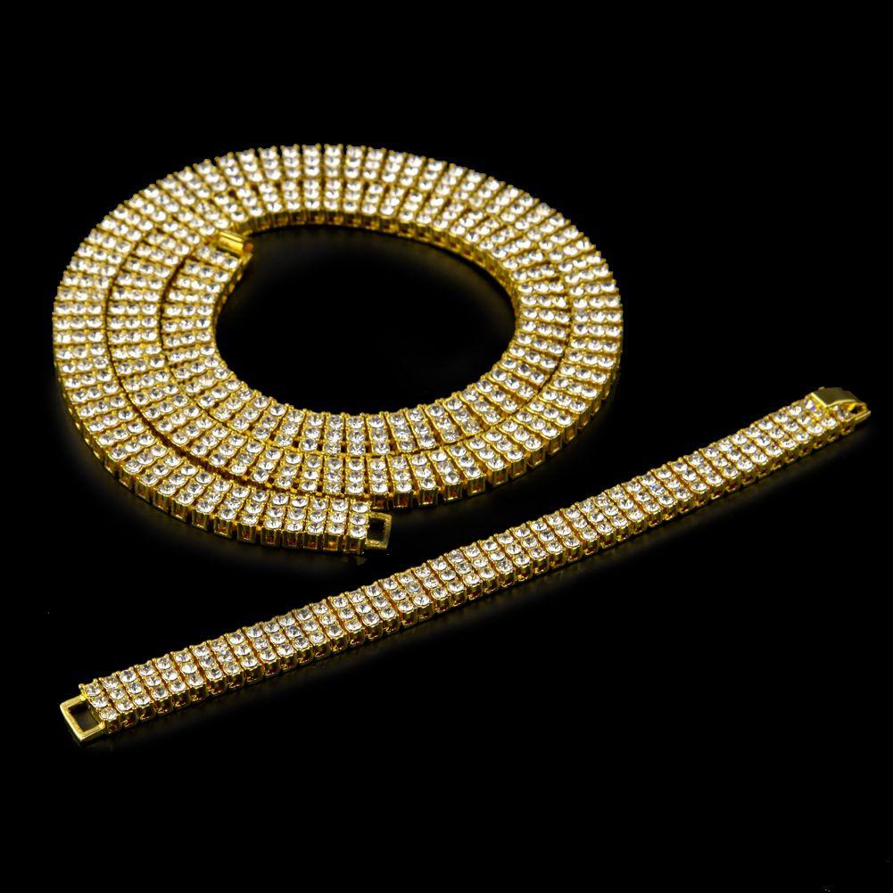 Zinc Alloy 3 Rows RhineStone Crystal Bracelet Bangle Necklace Hip Hop Chains Bling Shiny Women Men Rock Punk Jewelry Set