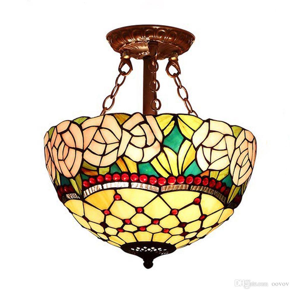 Tiffany Pendentif Entrée Lampe Manger Oovov Luminaires À Rose Pendant Salle Plafond Chambre Rétro Balcon XwklZuOiPT