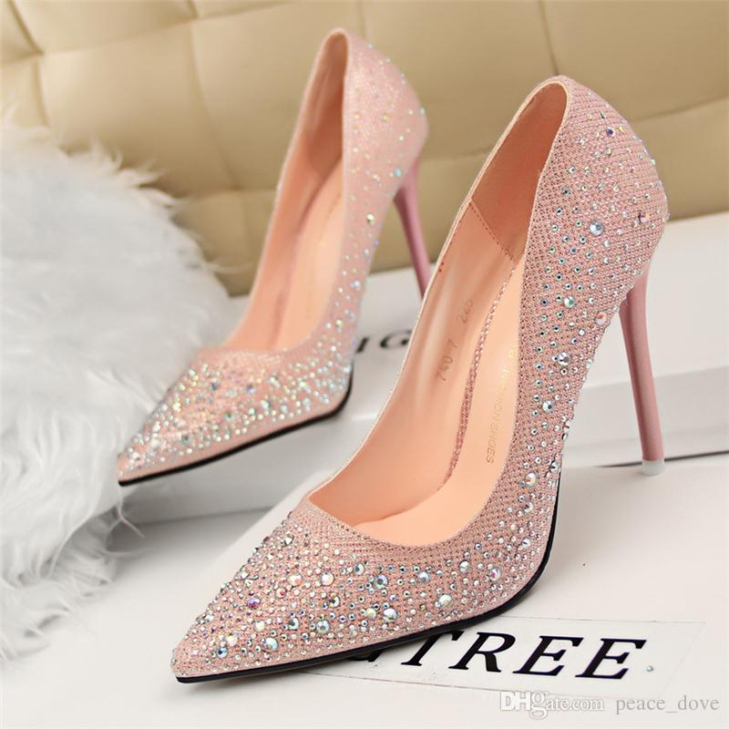 Bigtree Ladies Dress Wedding Shoes Rhinestones Crystal Shoes Woman Extreme High  Heels Sexy Pumps Sapato Feminino Salto Alto Tacones Stiletto Mens Dress ... 75568d01b0f6