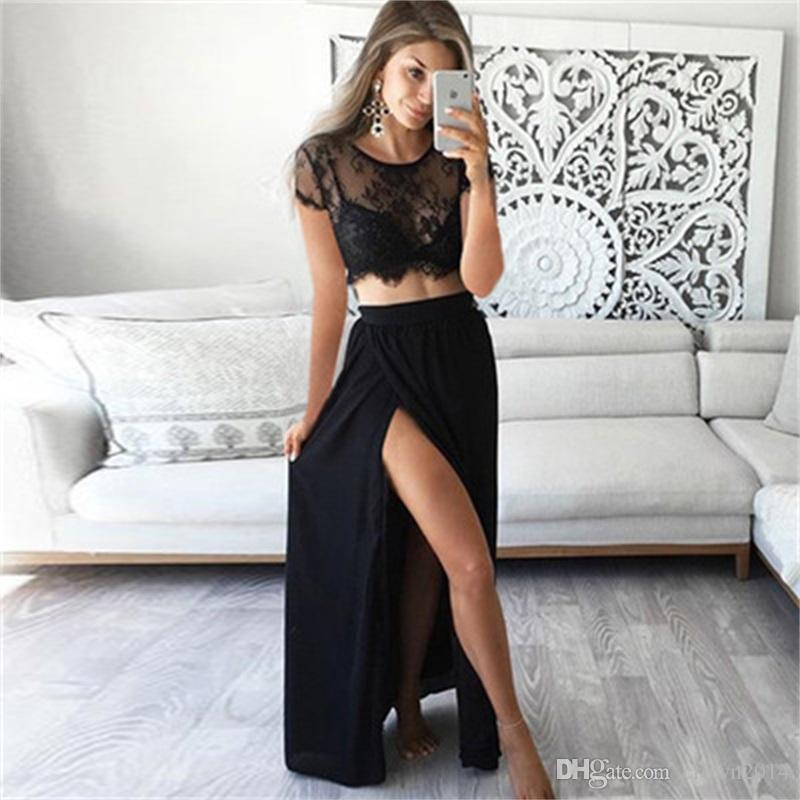 Sexy A-line Long Prom Dress Two-piece Black Lace Chiffon Short Sleeve Sheer Neck Evening Dress with Side Slit Floor Length Cheap