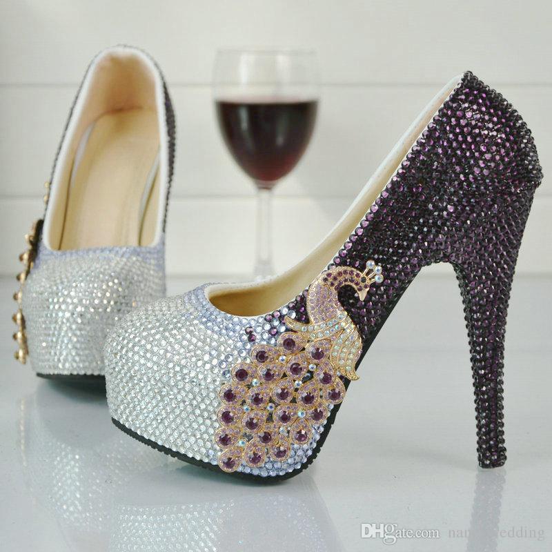Roxo e de Prata Strass Sapatos de Salto Alto Bombas de Casamento Bombas De Festa De Casamento Nupcial Formal Cinderela Prom Bombas Plus Size 45