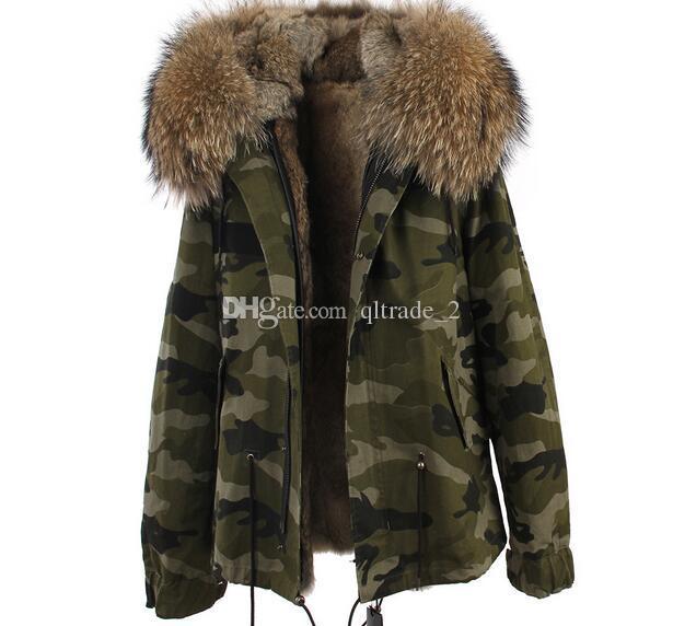 Jazzevarブランドの茶色の毛皮のトリムの草の草原の毛皮のキャンバス陸軍グリーングリーンミニパーカースノーフルパーカーリアルウサギの毛皮の並ぶコート