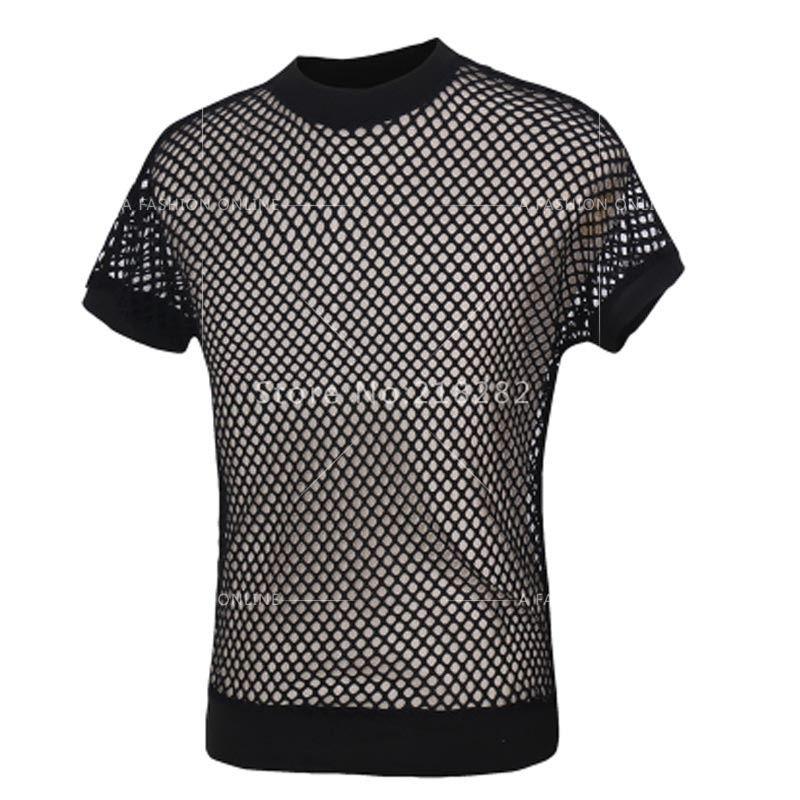 71b39f1e01e New Fashion Sexy Men S Black Fishnet TopsTransparent Mens T Shirts Net Mesh  Gay See Thru Funny Shirt Undershirt From Goodly3128