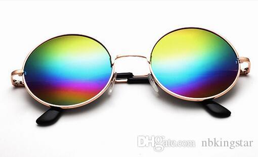 Цвет Фильм солнцезащитные очки Мужчины Женщины 2017 старинные металлические круглые солнцезащитные очки Женщины Марка дизайнер ретро Sun Glasses12 шт. / лот Бесплатная доставка
