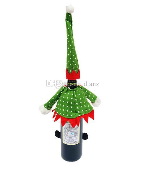 New Arrive Christmas Decoration supplies Polka Dot /stripe red Wine Bottle Cover Bags For Christmas home party red Wine Bottle decor