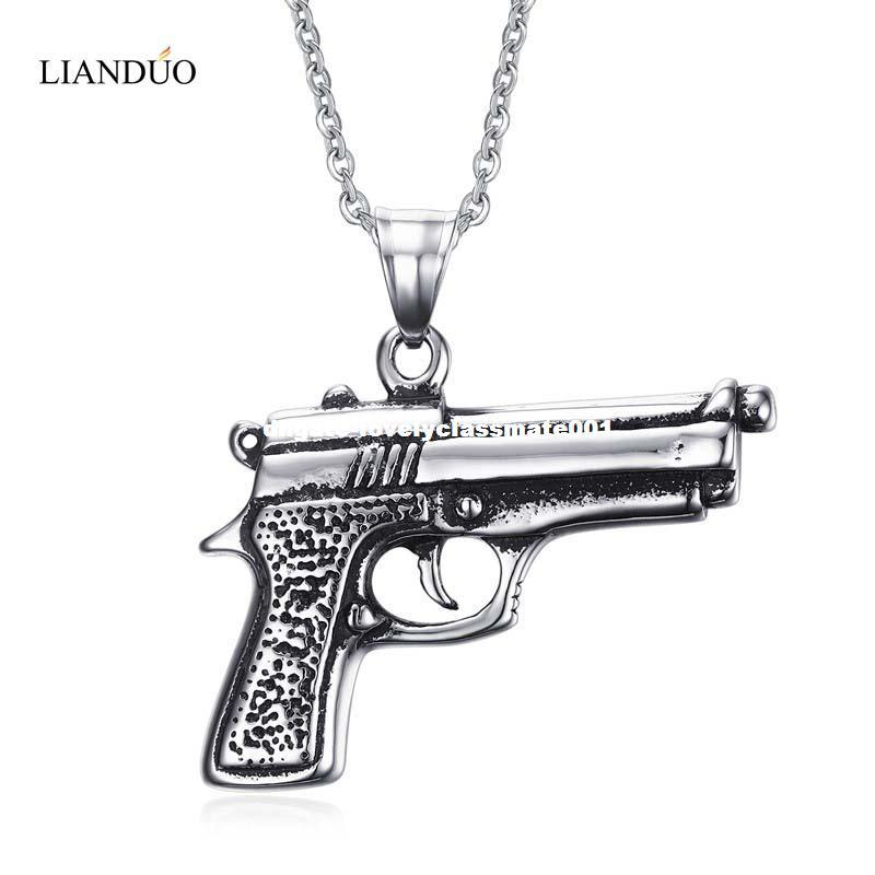 Meaeguet Fashion Men's Gun Pendant Necklace 316L Stainless Steel Charm Pistol Hand Gun Jewelry 50cm Chain