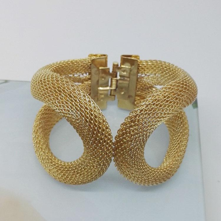 Lt6208 Gold Mesh Fashion Bracelet Jewelry Opening Design Elastic