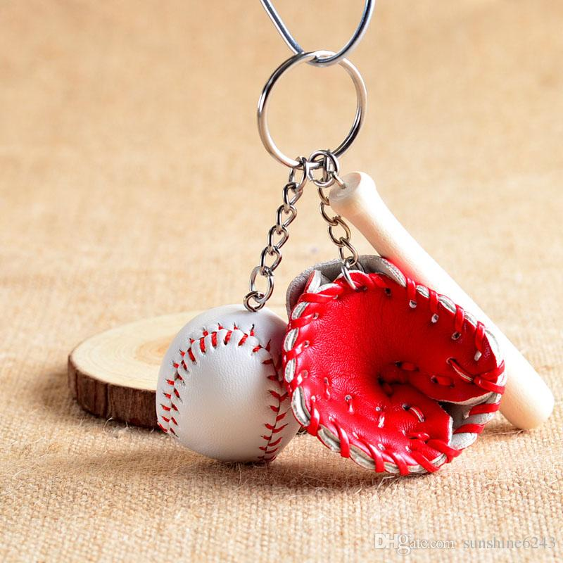 Guanti da baseball di colori misti Wooden Bat Keychains Pack da 3 pollici di 12 portachiavi Cartoon Portachiavi Cartoon Miglior regalo di Natale