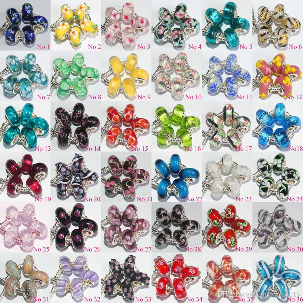 100 pezzi misti 925 sterling argento murano murano perle di vetro fascino fatti a mano grande foro branelli allentati pandora braccialetto europeo collana xma