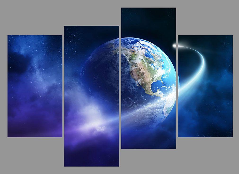 Satın Al Yijiahe Moder Baskı Tuval Boyama Gezegen 4 Parça Oturma