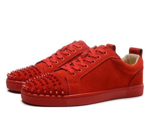 جديد الرجال والنساء إصبع أحمر المسألة الجلود أحمر أسفل أعلى أعلى أحذية رياضية ، مصمم عشاق السببية الشقق أحذية التزلج