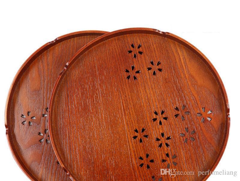 New Food Serving Trays Tea Food Oriental Vintage Food Tea Wooden Tray Serving Platter Plate Kitchen Gadget For Milk Pizza ZA3028