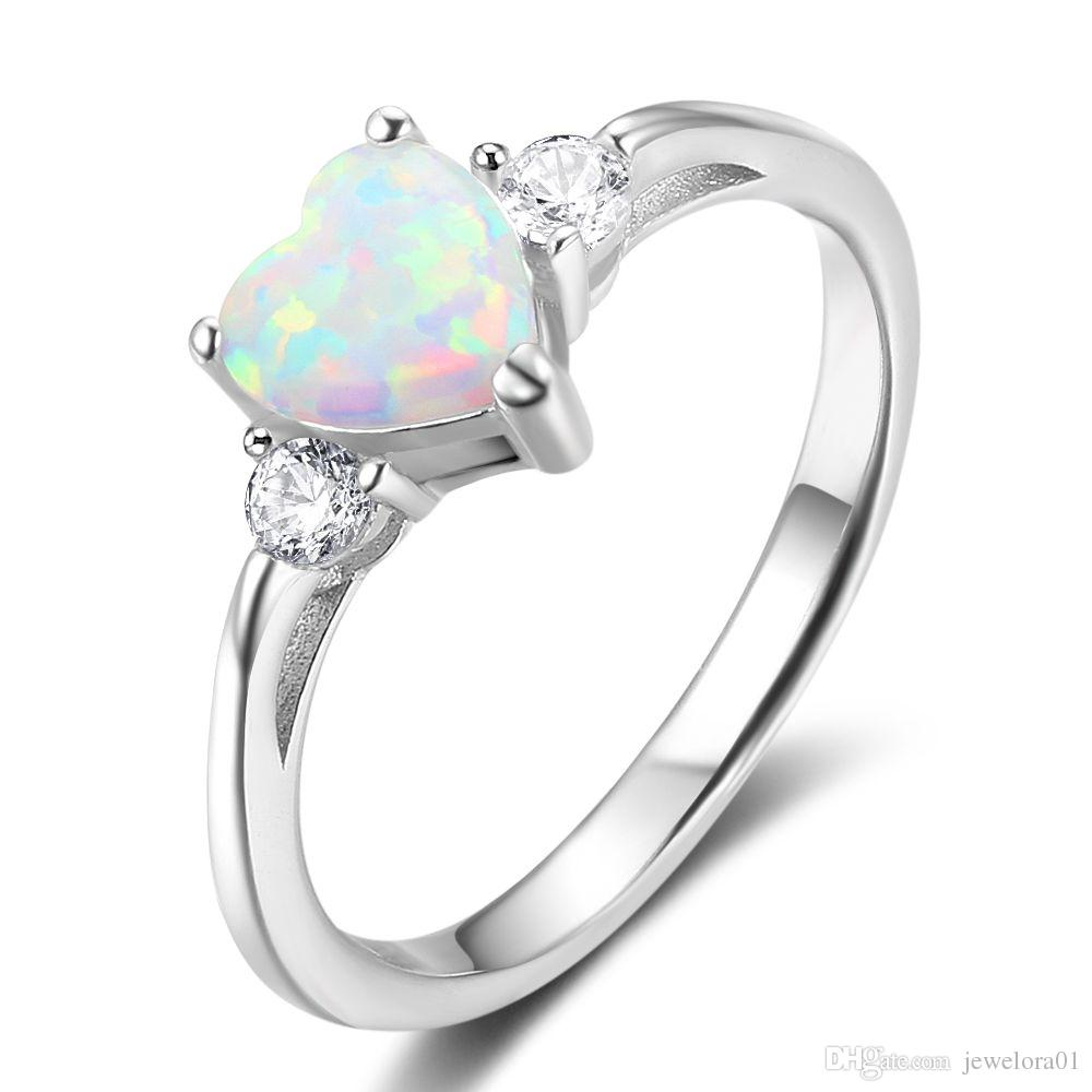 Sterling Silver White Opal Rings Cubic Zirconia Rings Jewelry Engagement  Wedding Rings For Women UK 2019 From Jewelora01 219005ccfb