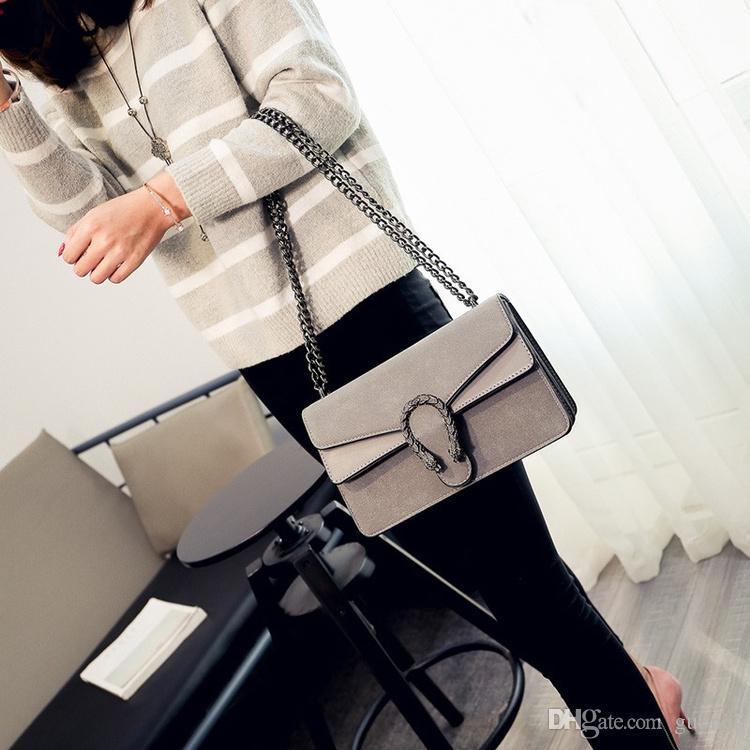 Marke Vintage Wildleder Taschen Handtaschen Frauen Schlange Kopf Tasche Luxus Designer Leder Handtasche Chian Schulter Umhängetasche freies Verschiffen