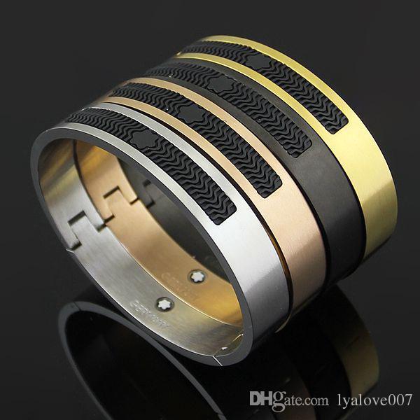 Bijoux из нержавеющей стали розовые золотые браслеты для женщин Смола манжеты Браслеты подлинной титановой стали мужские браслеты для мужских браслетов
