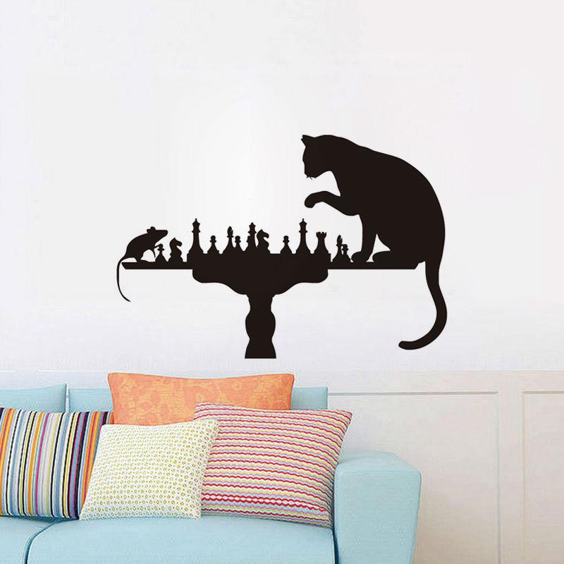 cat and mouse play chess funny wall sticker creative home decor