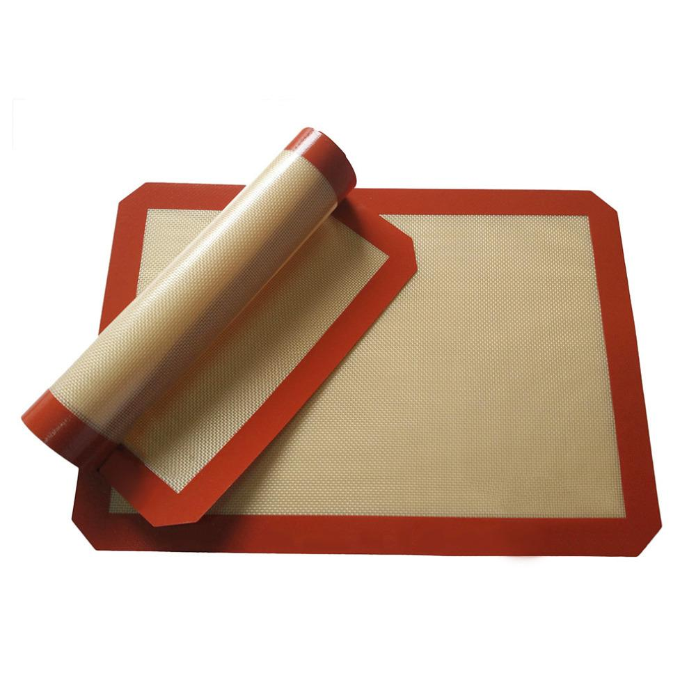 Silicone Baking Mat Pad, 42*29 5cm Baking Sheet Glass Fiber Rolling Dough  Mat, Large Size for Cake Cookie Macaron