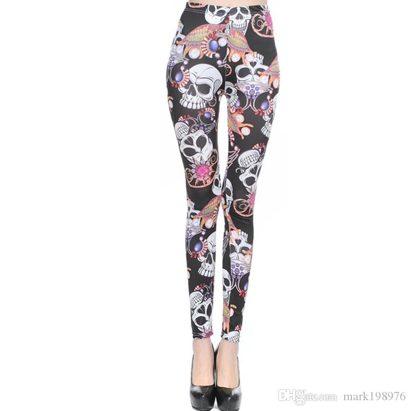 9977677566394 2019 2017 New Skull Pattern Printed Milk Silk Leggings Vintage Graffiti  Trousers Fashion Sexy Jeggings Women Lady Slim Skinny Pants LG005 From  Mark198976, ...