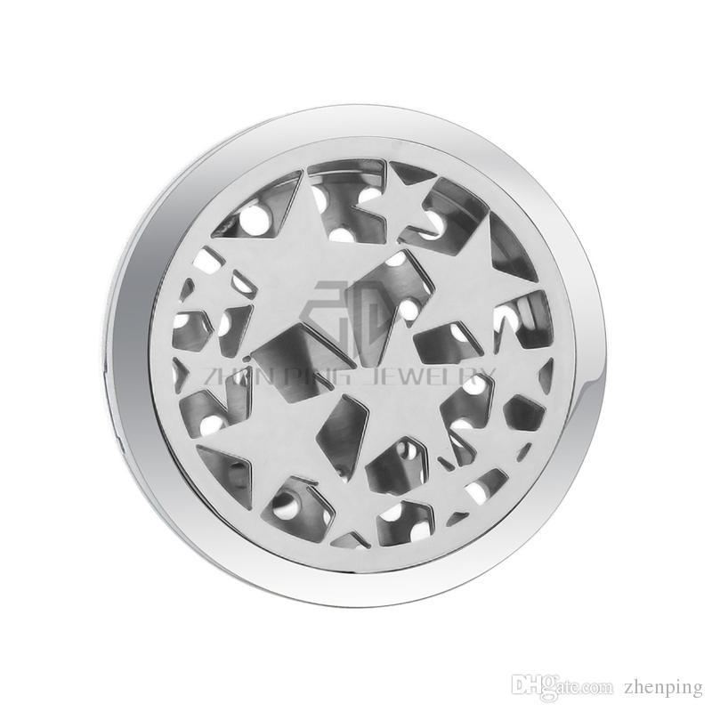 Argent rond 30-38mm diffuseur d'aimant voiture aromathérapie plaquettes libres de médaillon