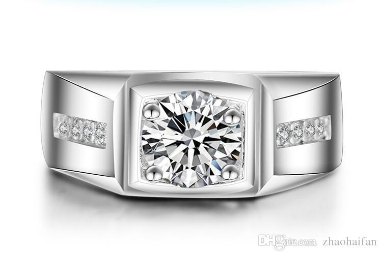 ZHF Bijoux Victoria Wieck Bague solitaire Hommes 1ct Topaz simulé diamant 925 fiançailles en argent sterling Bague de mariage Bague Sz 7-12