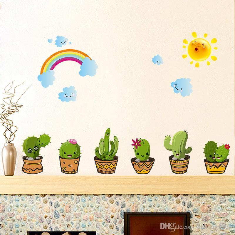 Le pareti della decalcomania bella Cactus adesivi murali Bagno Finestra Soggiorno Camera da letto Sfondo Abbellire Art Decor 3 2HL C R