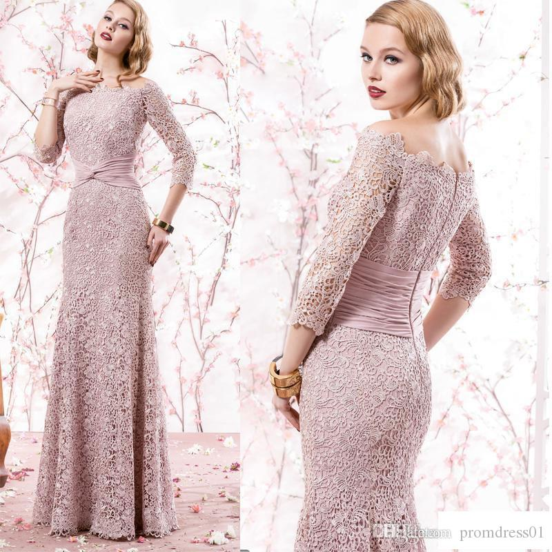 Hot Selling Pink Mermaid 3/4 Long Sleeves Mother of the Bride Dresses In Stock