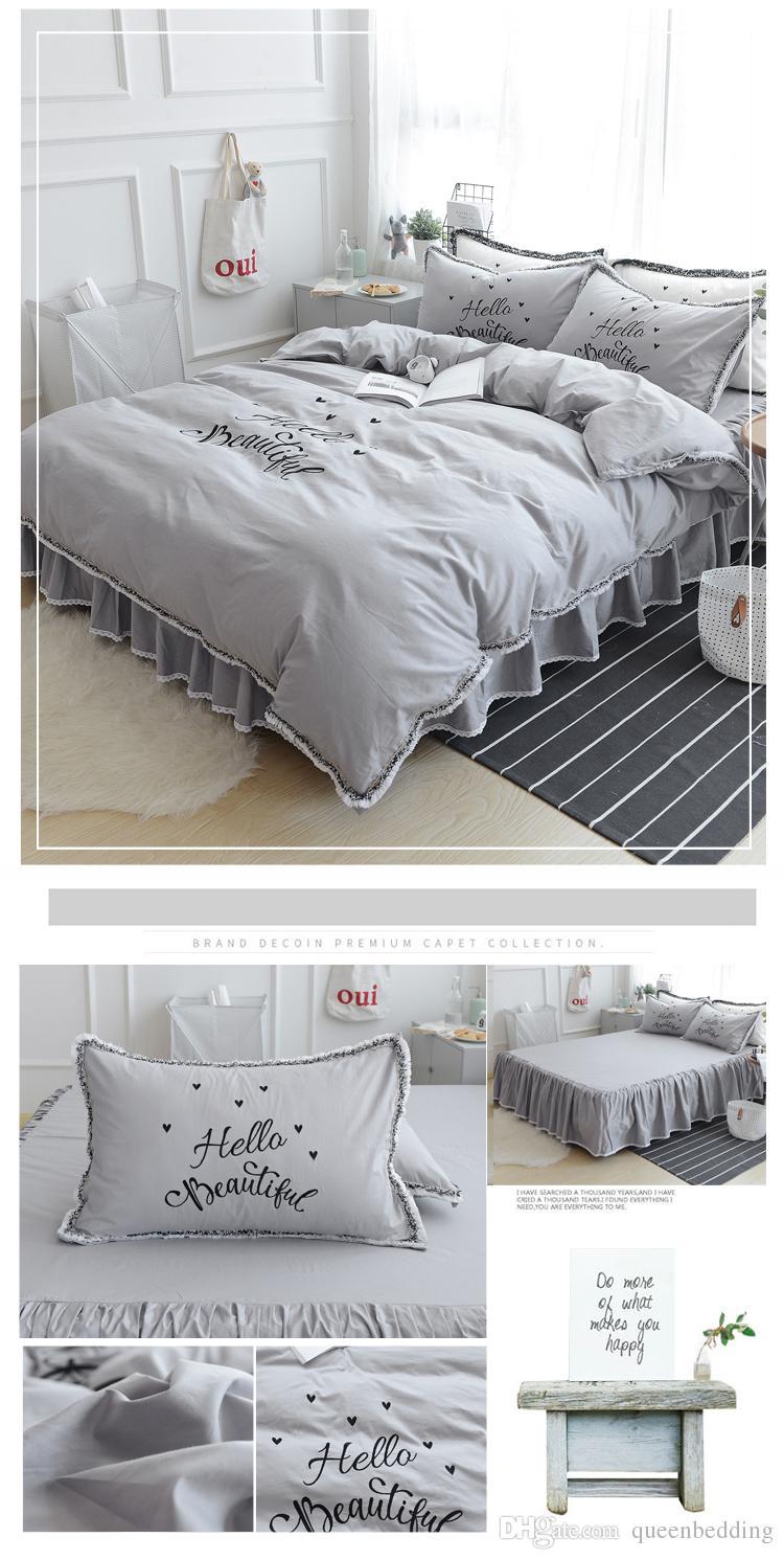 Set di biancheria da letto di lusso riassunto grigio puro di colore solido bianco puro CIAO parole rosa regina re copripiumino copripiumino federa set