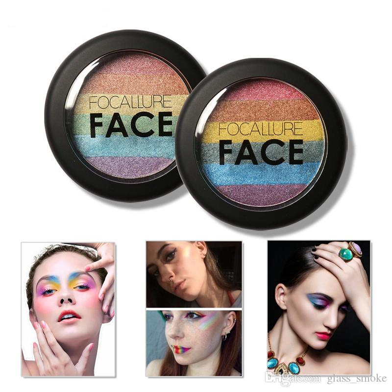 DHL FOCALLURE Rainbow Highlighter Makeup Eyeshadow Palette Baked Blush Face Shimmer Color Eye Shadow Cosmetics Beauty Tools Kits