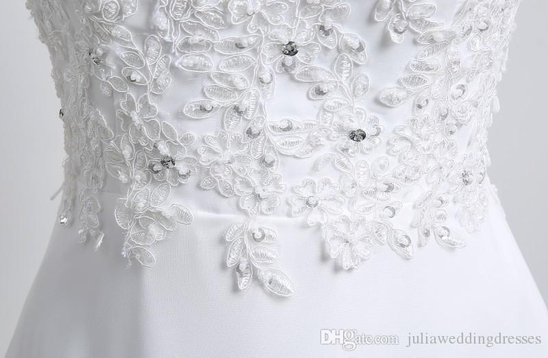 2017 Yeni Beyaz Şifon Mermaid Gelinlik V Boyun Düğün Parti Gelin Törenlerinde Stok 6-16 QC330
