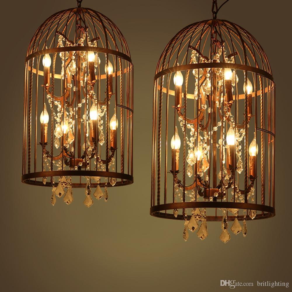 American country old vintage crystal chandelier Birdcage