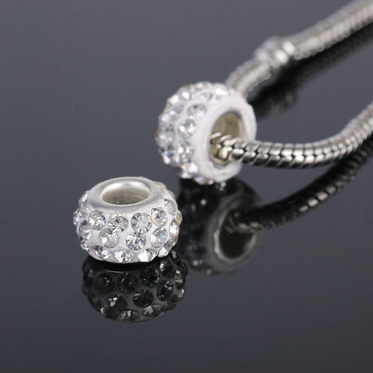Moda fai da te accessori Pandora perline cristallo della pietra preziosa del grande foro europeo borda i monili delle donne BraccialiCollane fare i