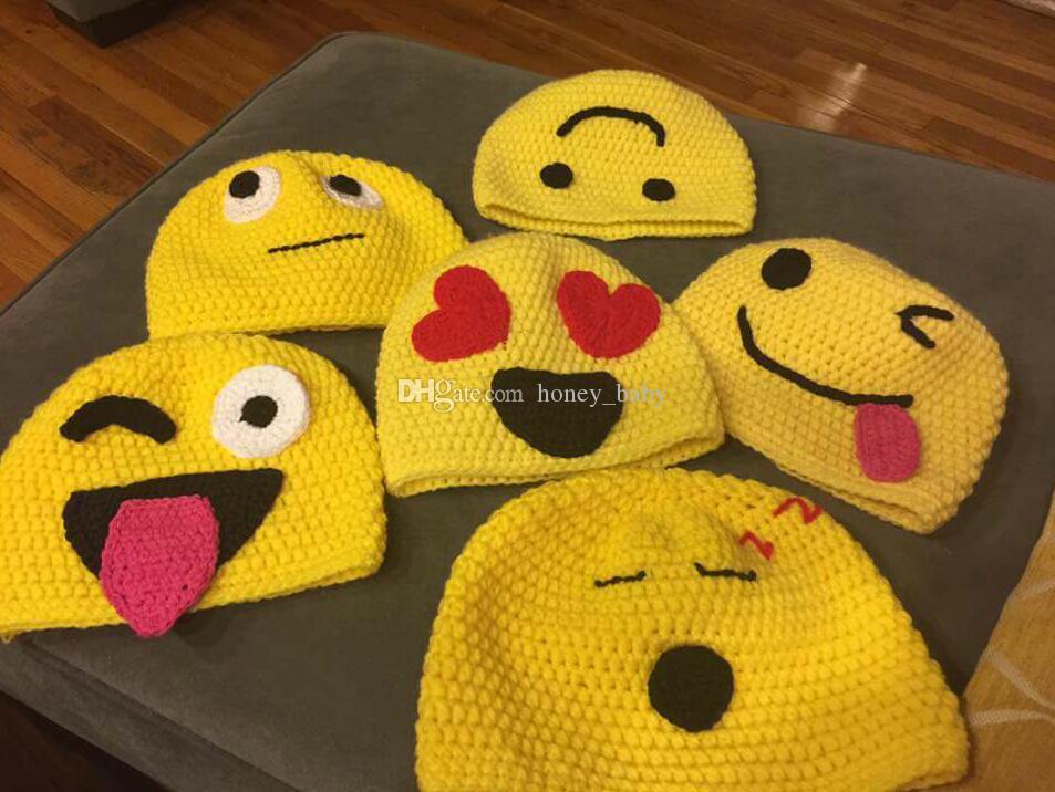 Großhandel Kinder Emoji Hut Gelb Mit Lächelnden Gesichtern Häkeln